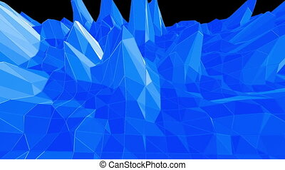 Blue low poly shining surface as landscape or crystal...