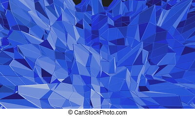 Blue low poly shining surface as landscape or chemical...