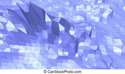 Blue low poly shining surface as landscape or geometric structure. Blue polygonal geometric shining environment or pulsating background in cartoon low poly popular modern stylish 3D design.