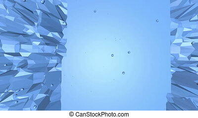 Blue low poly shining surface as landscape or cyberspace....