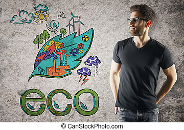 Go green concept - Attractive young man on concrete...