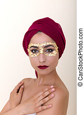 Gold leaf makeup - Beautiful model with gold leaf make-up...
