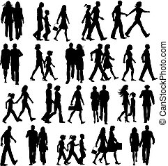 People walking - Large collection of silhouettes of people...
