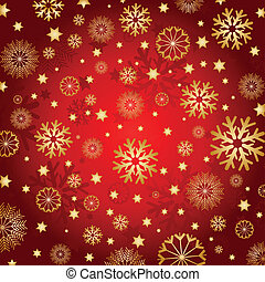 Golden snowflakes and stars