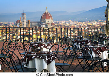 Cafe in Florencia - Cafe ay the viewpoint in Florencia with...