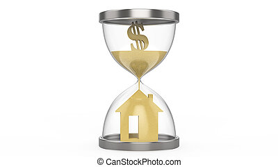 3D illustration hourglass dollar money and house on a white...