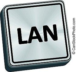 LAN Button - LAN button 3D key in brushed metal