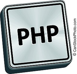 PHP Button - PHP button 3D key in brushed metal