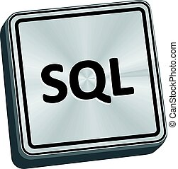 SQL Button - SQL button 3D key in brushed metal