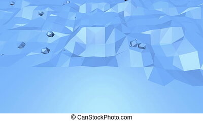 Blue low poly shining surface as math environment. Blue...
