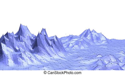 Blue low poly shining surface as mathematical visualization....