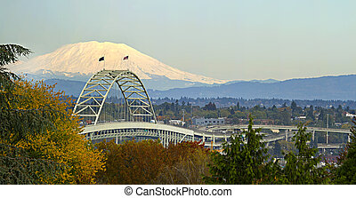Fremont Bridge Portland Oregon Panorama - Fremont Bridge...