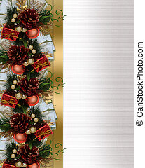 Christmas border pine cones and bow - Image and illustration...