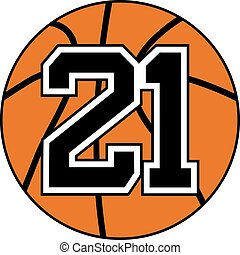 ball of basketball with the number 21 design