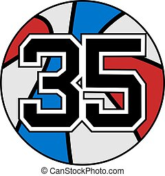 ball of basketball symbol with number 35 - creative design...