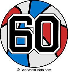 ball of basketball symbol with number 60 - creative design...