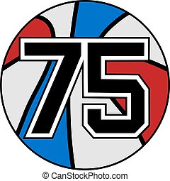 ball of basketball symbol with number 75 - creative design...