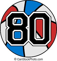 ball of basketball symbol with number 80 - creative design...