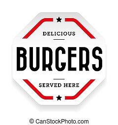 Burgers vintage stamp sticker vector