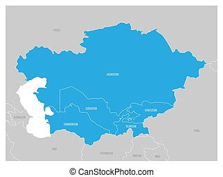 Map of Central Asia region with blue highlighted Kazakhstan, Kyrgyzstan, Tajikistan, Turkmenistan and Uzbekistan. Flat grey map with country white borders