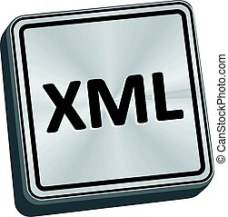 XML Button - XML button 3D key in brushed metal