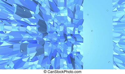 Blue low poly wavering surface as backdrop. Blue polygonal geometric wavering environment or pulsating background in cartoon low poly popular modern stylish 3D design Free space