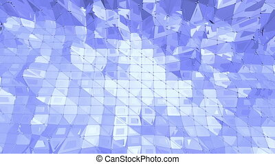 Blue low poly wavering surface as abstract environment. Blue...