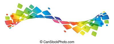 Multicolor curve, rainbow waved lines - Abstract color curve...