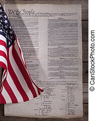 American Flag and Constitution - American flag and United...