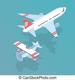 airplane and biplane - Airplane and biplane isometric vector...