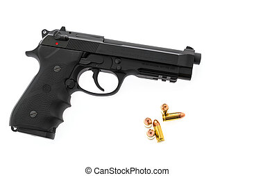 A 9mm Beretta M92A1 semi-automatic handgun used by both...