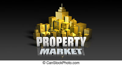 Property Market Industry Business Concept with Buildings...