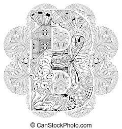 Mandala with letter B for coloring. Vector decorative zentangle