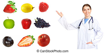 Healthy diet - Medical doctor and fruits Isolated over white...