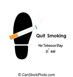 Shoe prints,foot prints and Quit Tobacco sign.World no...