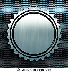 Perforated metal background with badge shape - Grunge...