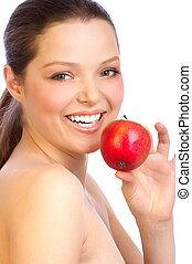 woman with red apple.
