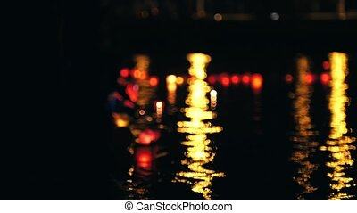 Festival of Floating water Lanterns on river at night -...