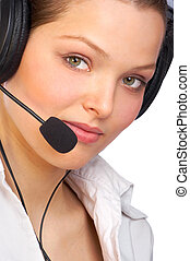 business woman with headset - Beautiful business woman with...