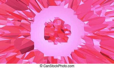 Rosy or pink low poly waving surface as youth background....