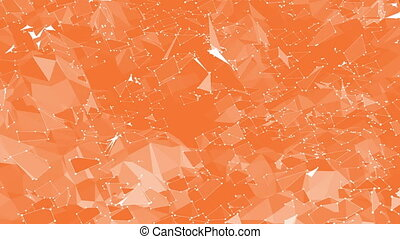 Orange low poly surface as trendy transforming shining...