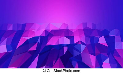 Violet abstract low poly waving surface as animated environment. Violet abstract geometric vibrating environment or pulsating background in cartoon low poly popular modern stylish 3D design. Free space