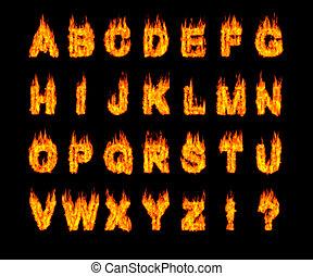 Set of Burning Latin Alphabet Letters - Set of burning Latin...