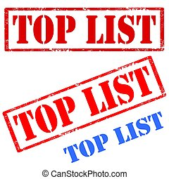 Top List-stamps - Set of stamps with text Top List,vector...