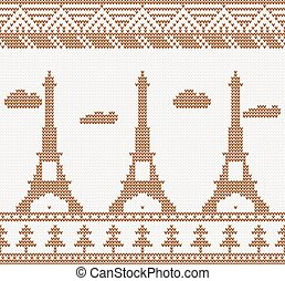 Eiffel tower: Scandinavian style seamless knitted pattern