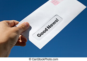 Good News and envelope - Good News,envelope and blue sky,...