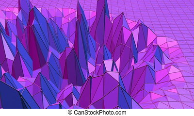 Violet abstract low poly waving surface as corporate...