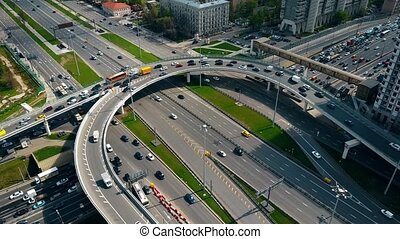 Congested street traffic at the rush hour in Moscow, Russia....