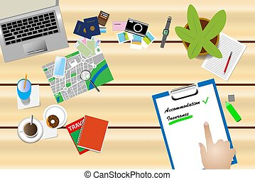 Travel insurance concept vector - Top view of the work table...