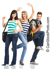 smiling students - Young smiling students Isolated over...